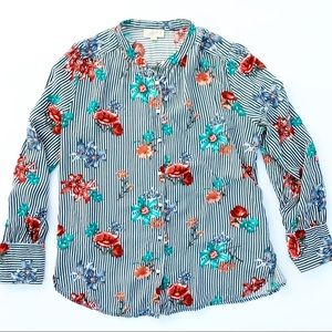 LOFT Ann Taylor Striped Floral Button Up Blouse